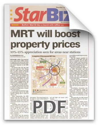 MRT will boost property prices - Starbiz