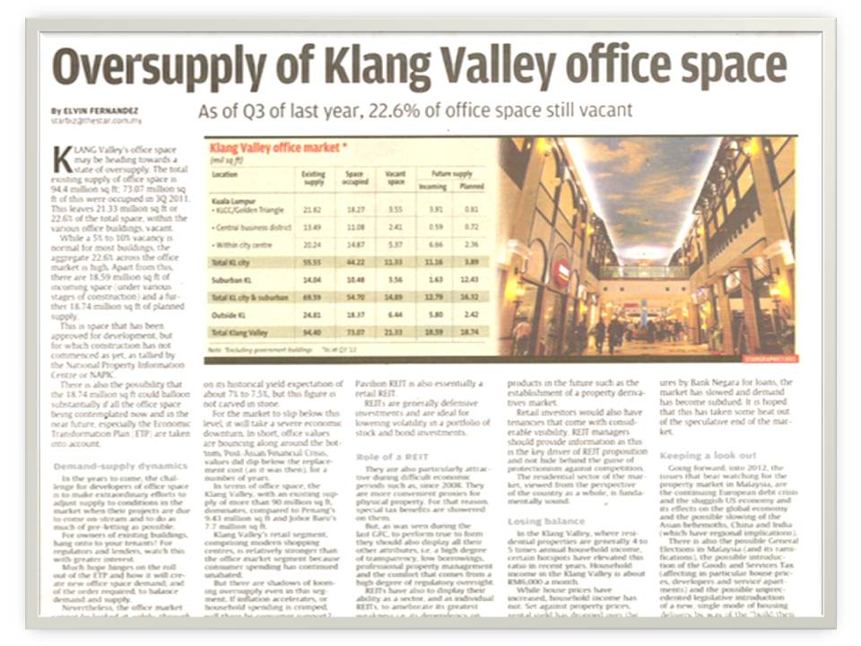 oversupply of klang valley office space